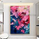 Multicolor Daubs Modern Heavy Texture Artist Handmade Abstract Acrylic Painting For Room Drape
