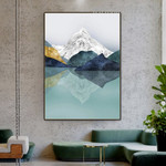 Mount Water Effect Snow Abstract Naturescape Vintage Painting Image Canvas Print for Room Wall Tracery
