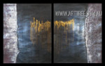 Dotted Lines Abstract Modern Heavy Texture Artist Handmade 2 Piece Multi Panel Wall Art Paintings Set