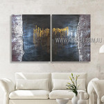Dotted Lines Abstract Modern Heavy Texture Artist Handmade 2 Piece Multi Panel Canvas Oil Painting Wall Art Set For Room Garnish