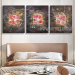 Multicolor Slurs Abstract Modern Heavy Texture Artist Handmade 3 Piece Multi Panel Canvas Painting Set For Room Decoration