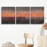 Zigzag Lineaments Abstract Modern Heavy Texture Artist Handmade 3 Piece Multi Panel Painting Wall Art Set For Room Trimming