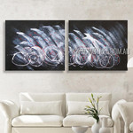 Wandering Design Abstract Modern Heavy Texture Artist Handmade 2 Piece Multi Panel Painting Wall Art Set For Room Outfit
