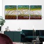 Winding Strokes Abstract Modern Heavy Texture Artist Handmade 3 Piece Multi Panel Canvas Painting Wall Art Set For Room Decor