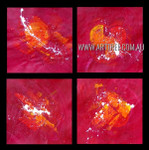 Dapple Splotches Abstract Modern Heavy Texture Artist Handmade 4 Piece Split Panel Painting Wall Art Set