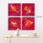 Dapple Splotches Abstract Modern Heavy Texture Artist Handmade 4 Piece Multi Panel Wall Painting Set For Room Moulding