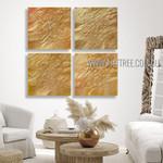 Golden Flaws Abstract Modern Heavy Texture Artist Handmade 4 Piece Multi Panel Canvas Oil Painting Wall Art Set For Room Garniture