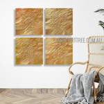 Golden Flaws Abstract Modern Heavy Texture Artist Handmade 4 Piece Multi Panel Wall Painting Set For Room Decor