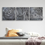 Curvy Streak Design Abstract Modern Heavy Texture Artist Handmade 3 Piece Multi Panel Painting Wall Art Set For Room Equipment