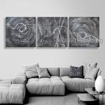 Curvy Streak Design Abstract Modern Heavy Texture Artist Handmade 3 Piece Split Complementary Painting Wall Art Set For Room Embellishment