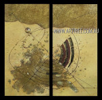 Winding Trails Abstract Vintage Heavy Texture Artist Handmade 2 Piece Split Complementary Painting Wall Art Set