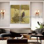 Winding Trails Abstract Vintage Heavy Texture Artist Handmade 2 Piece Split Panel Painting Wall Art Set For Room Drape