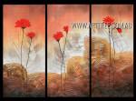 Red Blooms Floral Vintage Heavy Texture Artist Handmade 3 Piece Split Panel Canvas Wall Art Set