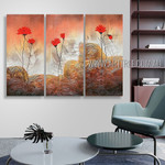 Red Blooms Floral Vintage Heavy Texture Artist Handmade 3 Piece Split Panel Painting Wall Art Set For Room Disposition