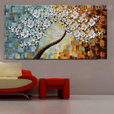 White Blossom Abstract Framed Heavy Texture Floral Palette Knife Portmanteau for Wall Hanging Decor