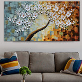 White Blossom Abstract Framed Heavy Texture Floral Palette Knife Portmanteau for Wall Equipment