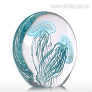 Blue Jellyfish Pair Glass Sculpture Sea Creature Miniature (2)