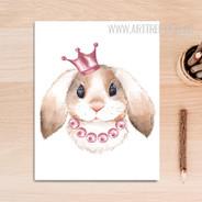 Kawaii King Rabbit Animal Nursery Wall Art