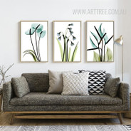 Transparent Bird of Paradise Common Bluebell Arum Lily Floral Canvas Art