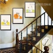 Creatively Lemon Orange Fruit Bike Digital Canvas Wall Art