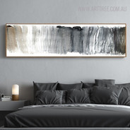 Grey Color Abstract Panoramic Painting Canvas Print for Living Room Decor