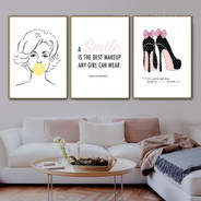 Girl Bubble Gum High Heels 3 Piece Abstract Quotes Modern Art Photograph Canvas Print for Room Wall Illumination
