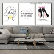 Girl Bubble Gum Smile Abstract Photograph Canvas Print 3 Piece Quotes Pattern Modern Wall Painting for Room Finery