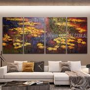 Water Lilies Landscape Vintage Heavy Texture Handmade 4 Piece Split Panel Painting Wall Art Set For Room Garniture