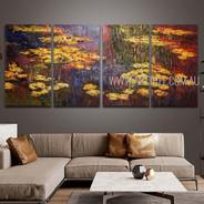 Water Lilies Landscape Vintage Heavy Texture Handmade 4 Piece Split Canvas Paintings Wall Art Set For Room Décor
