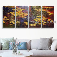 Water Lilies Landscape Vintage Heavy Texture Handmade 4 Piece Multi Panel Wall Art Paintings Set For Room Assortment