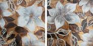 White Petal Blooms Floral Vintage Heavy Texture Artist Handmade 2 Piece Multi Panel Painting Wall Art Set
