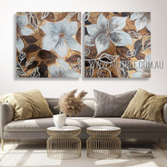 White Petal Blooms Floral Vintage Heavy Texture Artist Handmade 2 Piece Multi Panel Canvas Oil Painting Wall Art Set For Room Decoration