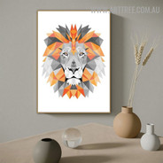 Motley Lion Animal Modern Geometrical Painting Image Canvas Print for Room Wall Disposition