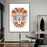 Motley Lion Rectangles Modern Geometrical Wall Art Animal Pic Canvas Print for Room Onlay