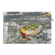 Multicolor Boat Contemporary Landscape Heavy Texture Artist Handmade Abstract Wall Art Painting