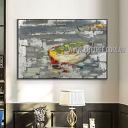 Multicolor Boat Modern Heavy Texture Artist Handmade Abstract Landscape Painting for Room Garniture
