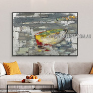 Multicolor Boat Abstract Modern Heavy Texture Artist Handmade Landscape Art Painting for Room Decoration