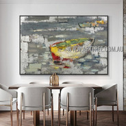 Multicolor Boat Landscape Modern Heavy Texture Artist Handmade Abstract Artwork Painting for Room Ornament