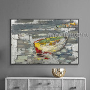 Multicolor Boat Abstract Landscape Heavy Texture Artist Handmade Modern Wall Art Painting for Room Adornment