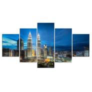 Petronas Towers Sky Landscape Modern 5 Piece Split Art Image Canvas Print for Room Wall Embellishment