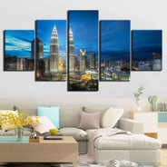Petronas Towers Clouds Modern 5 Piece Multi Panel Image Canvas Landscape Painting Print for Room Wall Equipment