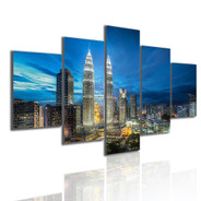 Petronas Towers Modern 5 Piece Over Size Landscape Artwork Image Canvas Print for Room Wall Assortment