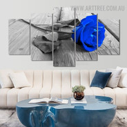 Blue Rosette Leaves Modern 5 Piece Multi Panel Floral Image Canvas Painting Print for Room Wall Adornment