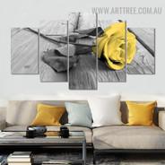 Yellow Rosebush Floral Modern 5 Piece Large Size Artwork Image Canvas Print for Room Wall Garnish