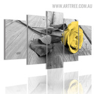Yellow Rosebush Leaves Modern Floral 5 Piece Multi Panel Image Canvas Painting Print for Room Wall Getup