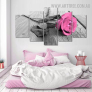 Pink Rosebush Leafage Floral Modern 5 Piece Large Size Artwork Photo Canvas Print for Room Wall Adornment