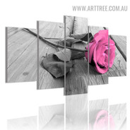 Pink Rosebush Modern 5 Piece Multi Panel Photo Canvas Floral Painting Print for Room Wall Moulding