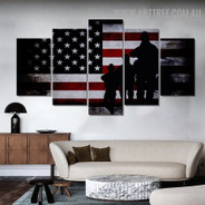 Military Army Flag Figure Modern 5 Piece Over Size Artwork Abstract Image Canvas Print for Room Wall Decoration