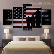 Military Army Spot Abstract Modern 5 Piece Split Figure Painting Image Canvas Print for Room Wall Trimming