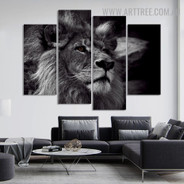 African Wild Cat Animal Modern 5 Piece Split Painting Image Canvas Print for Room Wall Drape